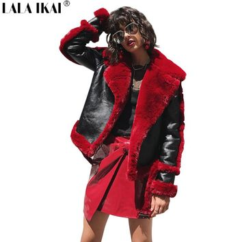 Women Faux Leather Sude Fur Coat Winter Bomber Jackets Female Turndown Collar Black Leather Red Fur Coat Outerwear SWQ0348-45