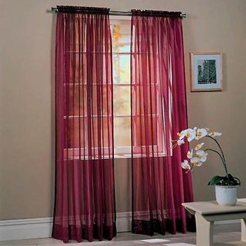Voile Window Curtain Decal Drapes Panel Sheer Valance Home Room Decor LHD58