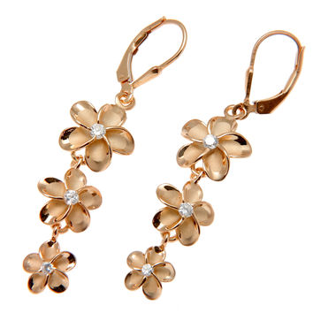 ROSE GOLD SILVER 925 HAWAIIAN 12MM-10MM-8MM PLUMERIA LEVERBACK EARRINGS CZ