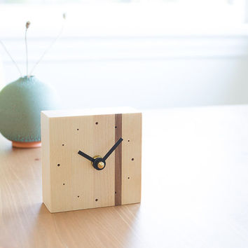 Mini square desk clock walnut and birch wood with black straight hands