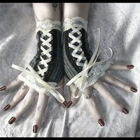 Vision of Veronica Victorian Fingerless Gloves Corset Laced Up in Dark Grey w/ Black Pinstripes & Lace - Vampire Belly Dance Romantic Lolita