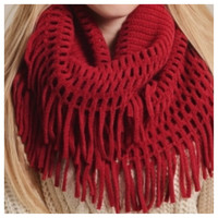 Chenille Tassel Fringe Red Infinity Scarf, Loop Scarf, Women's Accessories