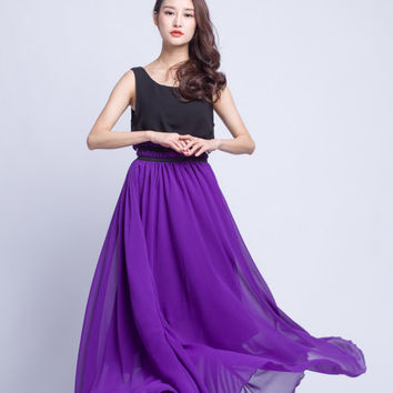 High Waist Wedding Skirt Chiffon Long Skirts Beautiful Elastic Waist Summer Skirt Floor Length Beach Skirt (201) 75#