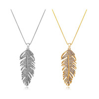 LOVE wings bohemian fashion feather leaf crystal pendant link chain necklace women valentine's day gifts collier femme 2016