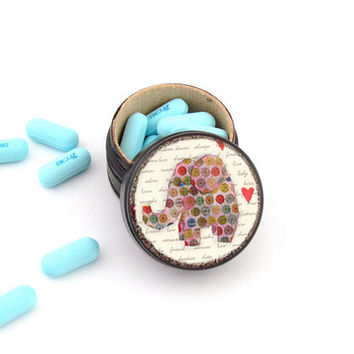 Elephant Pill Box - Elephant Non Toxic Vitamin Box - Elephant theme Tooth Fairy Box - Stocking Stuffer for Children
