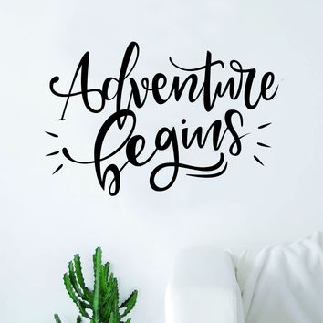 Adventure Begins V2 Quote Wall Decal Sticker Decor Vinyl Art Bedroom Teen Inspirational Boy Girl Wanderlust Travel
