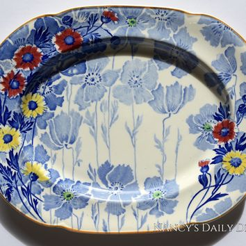 Blue English Transferware Platter / Rectangular Tray with Red & Yellow Daisies Gay Day