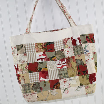Patchwork Large Tote Bag in Red and Gold, Market Bag, Fold Up Bag, Art Tote Bag, Everything Bag, MK143