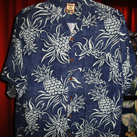 Amazing Vintage Hawaiian Shirt TOMMY BAHAMA Blue W Pineapples Size M 100 % Silk  Very Collectible