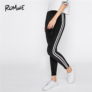 Romwe Sport Women Black Burgundy Pink Side Striped Velvet Running Tights Spring Autumn Winter Fitness Yoga Pants 3 Colors