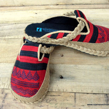Womens Clogs or Slides in Tribal Naga Red and Black Slip On Shoes  Vegan
