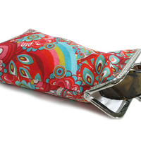 Red Sunglasses Case - Red with Mint Green Turquoise 100% cotton  - Silver Frame - Ready to ship!