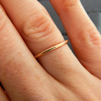 Delicate Gold Band, Simple Gold Ring, Gold Stacking Ring, Gold Fill Ring, Plain Gold Band, Gold Wedding Ring, Hammered Gold Ring, Stack Ring