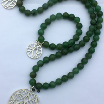 Yoga Inspired Jewelry Set, Yoga Energy Necklace & Bracelet: Green Aventurine with Genuine Swarovski Crystals and Silver Pewter Accents