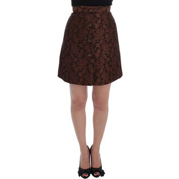 Dolce & Gabbana Brown Floral Brocade Mini Bubble Skirt