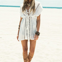 Crochet Trim Front Beach Cover Up Kaftan