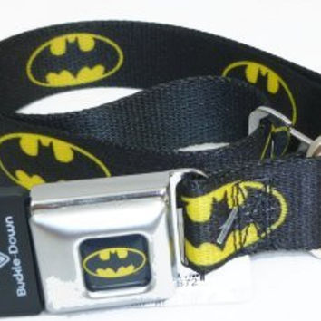 "Batman Seat Belt Buckle Dog Collar 1"" 15-26"""