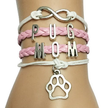 Infinity Customized Pug Mom Bracelet