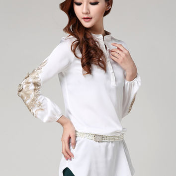White Long Sleeve Embroidered Long Blouse