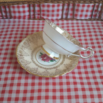 Vintage Teacup and Saucer Paragon Fine Bone China - H.M The Queen & H.M Queen Mary England REGD.