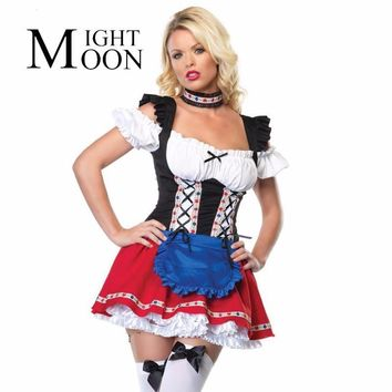 MOONIGHT Holiday Sale Sexy Maid Costume Girl Adult Costume Fancy Dress Cosplay Partywear For Halloween Costume