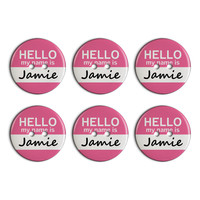 Jamie Hello My Name Is Plastic Resin Button Set of 6
