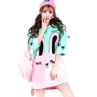 Bunny Rabbit Face Print Oversized Sweater Dress in Pink and Mint Blue