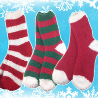 Three Pairs Of Fuzzy Christmas Socks
