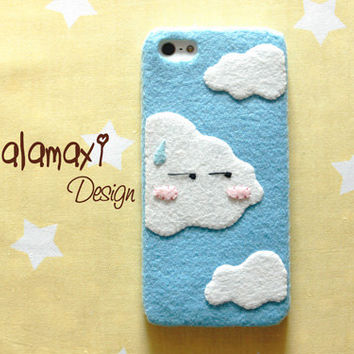 Handmade Cute Clouds Phone Case, Felt  Clouds Phone Case, Handcrafted Clouds Hard Case for iPhone 4/4S/5/5S/5C, Funny and Cute iPhone Case