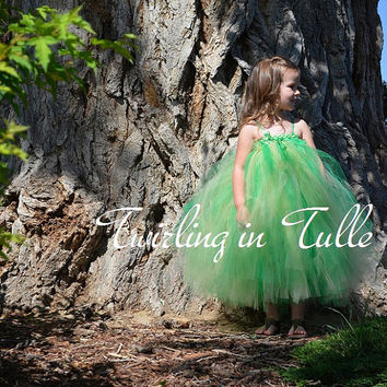 Green and Yellow Flower Girl Dress Size 5-6