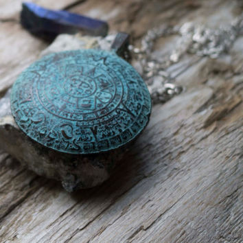 Mayan calendar necklace, patina, calendar pendant, long boho necklaces, layering, mystic quartz, titanium, distressed, verdigris, ethnic