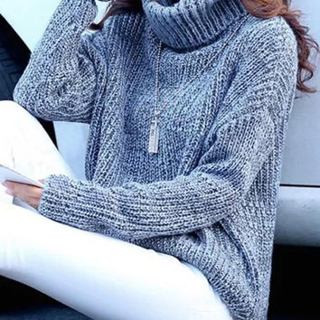 Blue Gray Turtleneck Long Sleeve Sweater