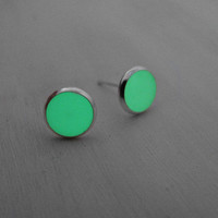 Glow in the Dark Stud Earrings GITD Earrings Tiny Stud Earrings Small Earrings Post Earrings Glow Earrings Green Earrings