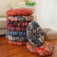 Colorful Seat Cushion Bohemia Simple Style Thick Cotton Chair Cushions Round Floor Cushion Pad Home Office 55*55cm/45*45cm