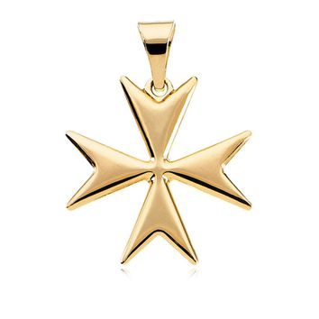 14k Yellow Gold Polished Maltese Cross Pendant, 18mm