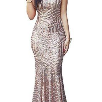 LOSRLY Womens Sequin Maxi Long Party Cocktail Club Formal Evening Mermaid Dress Prime Gold L 12 14