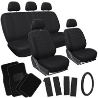 OxGord 17pc Flat Cloth Seat Covers w/ Carpet Floor Mats for Car/Truck/Van/SUV