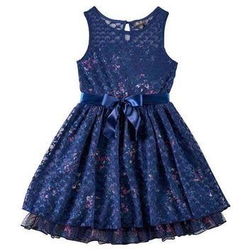 DCCKX8J Lily Rose Floral Print Mesh Skater Dress - Girls