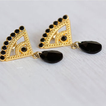 Bridesmaids earrings, black crystal and gold earrings