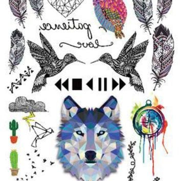 2016 Multi-style Fashion Cool Temporary Tattoo  with Wolf Owl And Feathers 21x15cm