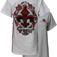 Southern Couture Red & Black Paisley Fleur De lis White Girlie Bright T Shirt