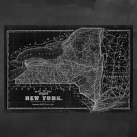"84"" x 58"" - Vintage Map, Large Print of State of New York"