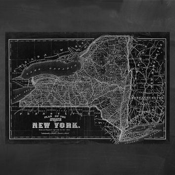 """84"""" x 58"""" - Vintage Map, Large Print of State of New York"""