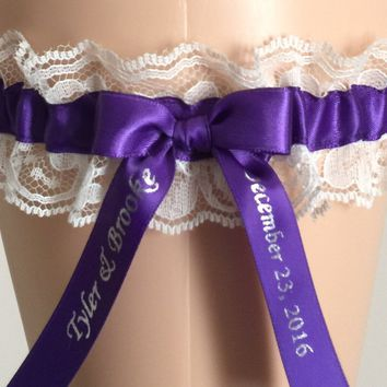 Royal Purple and Ivory Lace Wedding Garter, Ivory Lace Bridal Garter, Prom Garter, Weddings, Custom Wedding, Lace Bridal Gift, Engagement