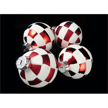 4 Christmas Ornaments - White And Red