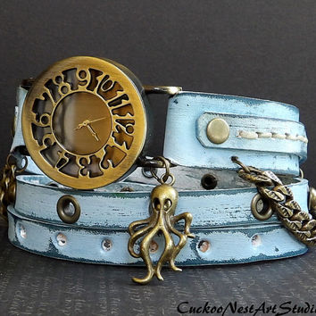 Ocean Blue Wrap Watch with Octopus charm, Womens leather watch, Bracelet Watch, Chain Wrist Watch, Distressed Fashion Watch