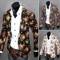 Floral Print Mens Fashion Blazer