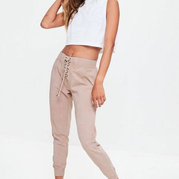 Missguided - Nude Washed Lace Up Waist Joggers