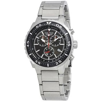 Nautica Black Dial Mens Chronograph Stainless Steel Watch NAD18540G