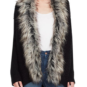 Jessica Simpson Elm Faux Fur Trim Cocoon Sweater